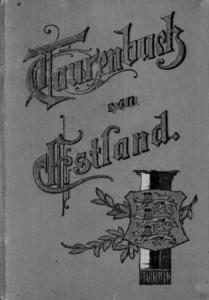 """Cover des Tourenbuchs mit der Heraldik Estlands (Drei Leoparden). Ursprünglich war dies, das Wappen der """"Estländischen Ritterschaft"""", entstanden Ende des 16. Jahrhunderts."""