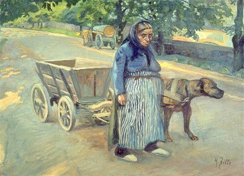 Besonders eindrücklich belegen die Werke von Heinrich Zille, dass Hundefuhrwerke im Berliner Stadtzentrum und an der Stadt-Land-Peripherie allgegenwärtig waren.
